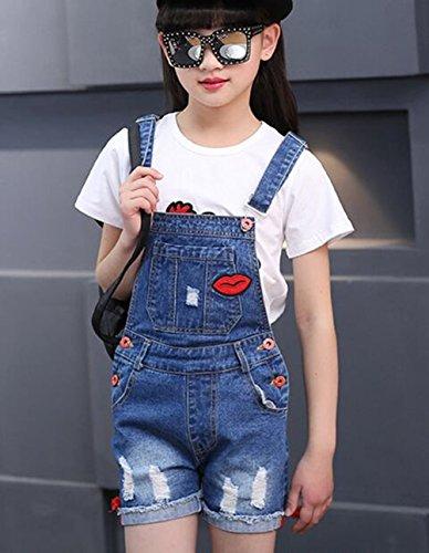 Big Girl's Denim Jumpsuit Boyfriend Jeans Cute Fashion Denim Romper Shortalls 9-10Years by Juakita Barpsa (Image #2)