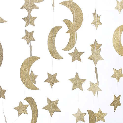 ZOOYOO Glitter Paper Garland Moon and Stars Ornaments,for a Variety of Activities and Party Supplies.10ft-2pcs-Gold
