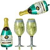 GOER 4 Pcs Champagne Bottle and Wine Goblet Glass Foil Balloons,40 inch Helium Balloons for Birthday Bridal Shower Bachelorette New Years Eve Festival Celebrations Party Supplies