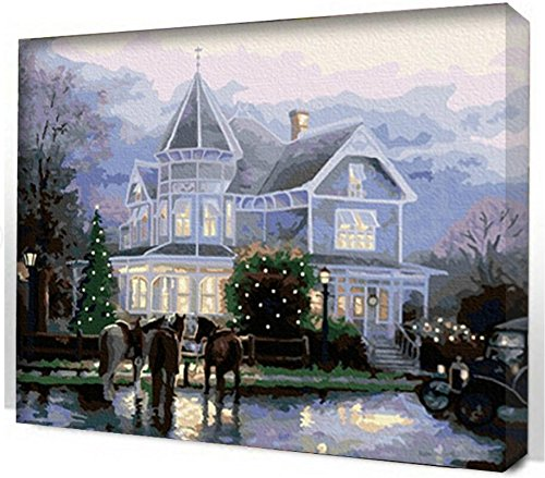 - ES Art DIY PBN-paint by number famous painting Villa Castle by Thomas Kinkade 16X20 inches Frameless.