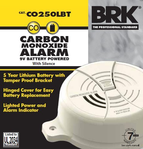 First Alert BRK CO250LBT Tamperproof Carbon Monoxide Alarm with Lithium Battery
