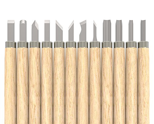 Housolution Carving Tool Set, [12 Pieces] Household Wood Carving Knife Tools Chisel Kit with 12 Sizes for Woodworking Cooking Fruit Vegetable Peeling Carving etc, Wood