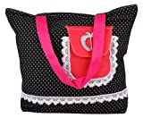 Black polka dotted Large Women Canvas Tote Handbags, Bags Central