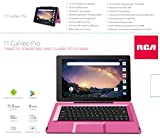 """RCA Galileo 11.5"""" 32 GB Touchscreen Tablet Computer with Keyboard Case Quad-Core 1.3Ghz Processor 1GB Memory 32GB HDD Webcam Wifi Bluetooth Android 8.1 - Pink"""