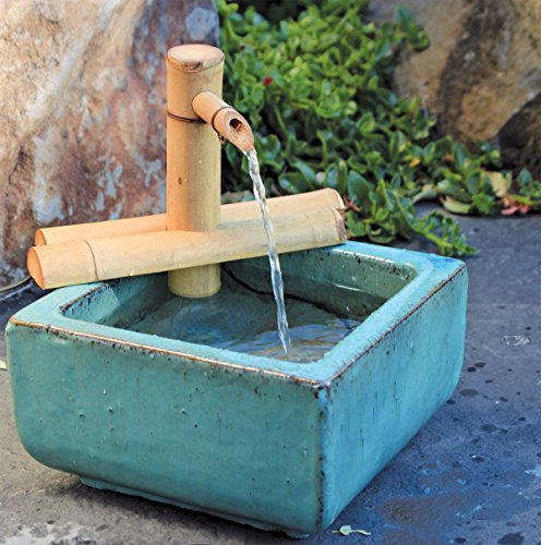 Bamboo Accents Zen Garden Water Fountain Spout, Indoor/Outdoor, Adjustable 7-Inch Half-Round Flat Base, Smooth Split-Resistant Bamboo (Fountain Ceramic Garden)