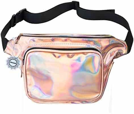 WODODO Fanny Pack for Women Party Waist Festival Money Belt Leather Pouch Concert HolographicWallet Bum Bag