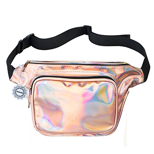 (WODODO Fanny Pack for Women Party Waist Festival Money Belt Leather Pouch Concert Holographic Wallet Bum Bag Tote)