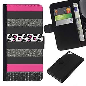 A-type (Glitter Silver Pattern Pink Lines) Colorida Impresión Funda Cuero Monedero Caja Bolsa Cubierta Caja Piel Card Slots Para HTC Desire 820