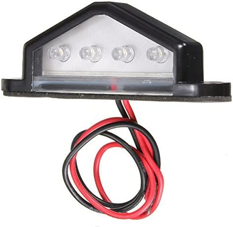 10-30V 4 LED Ampoule Lampe Feu de Plaque Lumiere Blanc Remorque Camion R TOOGOO Truck Nombre Feu de plaque