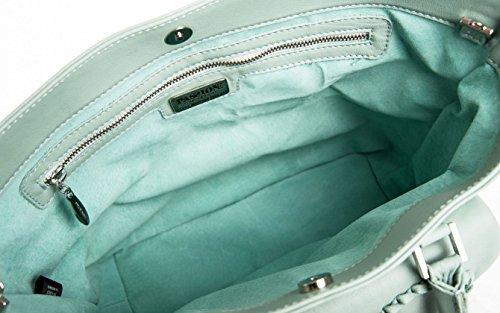 Dalia - Passione Bags - Borsa da donna in vera pelle a spalla o tracolla color verde cielo con fiori ricamati a mano - Made in Italy
