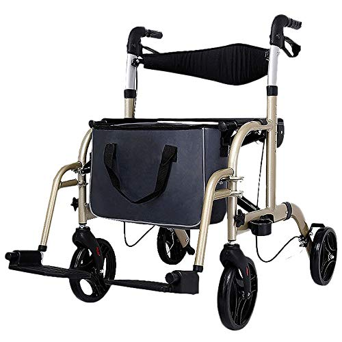(HTDZDX Elderly Walker Golden Shopping Cart Folding Manual Wheelchair Height Adjustable Multi-Function Walker)