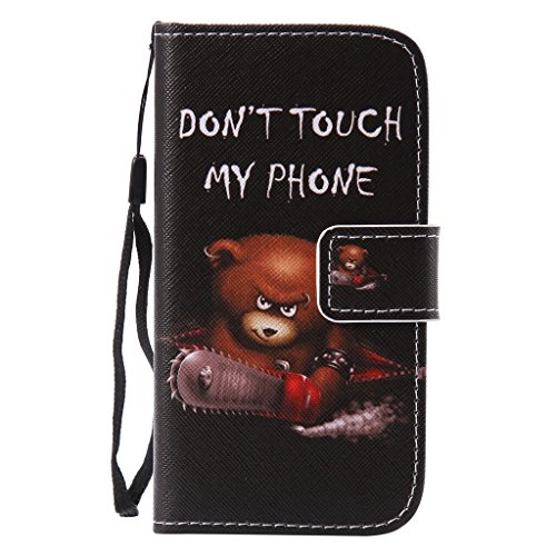 SZYT Phone Case for Samsung galaxy J1 2016 SM-J120F, 4.5 inch, PU Leather Flip Cover with Handle, [Funny Sayings] Armed Little Bear Don't Touch my Phone