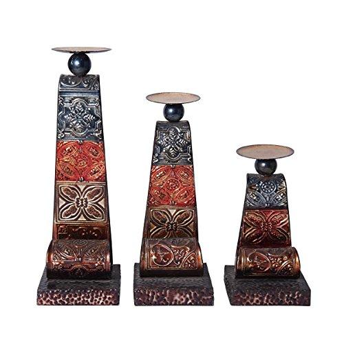 Elements Embossed Metal Patchwork Candleholder, Set of 3