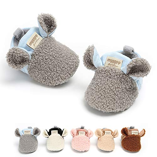SOFMUO Baby Girls Boys Fleece Booties - Cotton Lining Soft Suede Non-Slip Toddler First Walker Shoes Winter Socks(Gray,6-12 Months) (Booties Cotton)