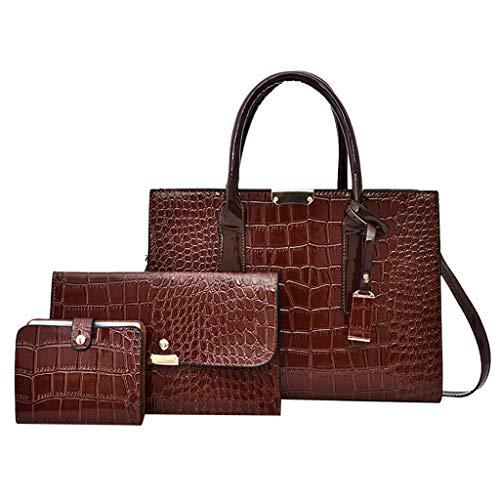(ℱLOVESOOℱ Women's Fashion Snake Zipper Leather Handbag Tote + Shoulder Bag + Card Holder 3pcs Set - Good Gift for Women Girls Brown)