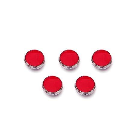 MagiDeal Conjunto de 3 Piezas Cromadas Botones Dedo Piedra Roja para Reparación de Trompeta