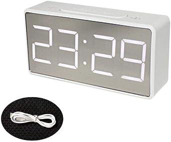Led Miroir Réveil Numérique Snooze Table Horloge Réveil