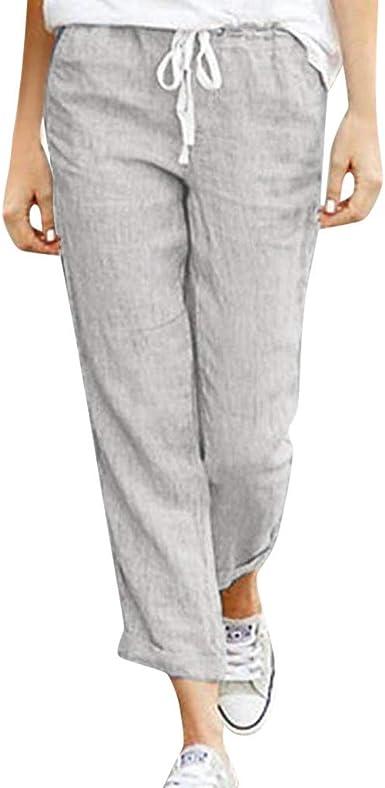 Geilisungren Pantalones para Mujer Mujeres Pantalones de AlgodóN y Lino EláSticos con CordóN Informal Sueltos Pantalones Sueltos Casuales para Mujer: Amazon.es: Ropa y accesorios