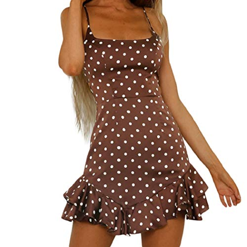 Wintialy Women Back Bow Dot Printing Sleeveless Mini Dress Summer Beach Dress Coffee