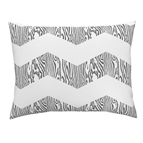 Roostery Chevron Stripe Zebra Wood Zig Grey White Euro Knife Edge Pillow Sham Chevron Safari ~ White And by Peacoquettedesigns 100% Cotton Sateen (Safari Stripe Sham Euro)
