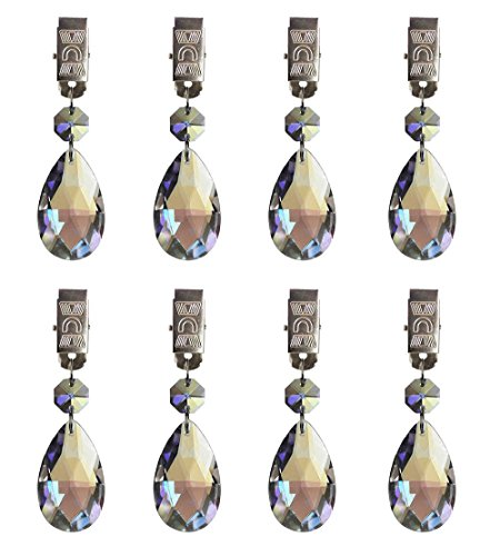 - Hyamass 8pcs Metal Clip AB Crystal Glass Teardrop Prisms Pendant Tablecloth Weights