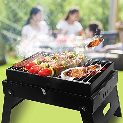 Barbecue À Charbon en Acier Inoxydable Grill Barbecue De Pliable De Portable avec Grille De Cuisson Et Poignée, pour Barbecue De Jardin Extérieur