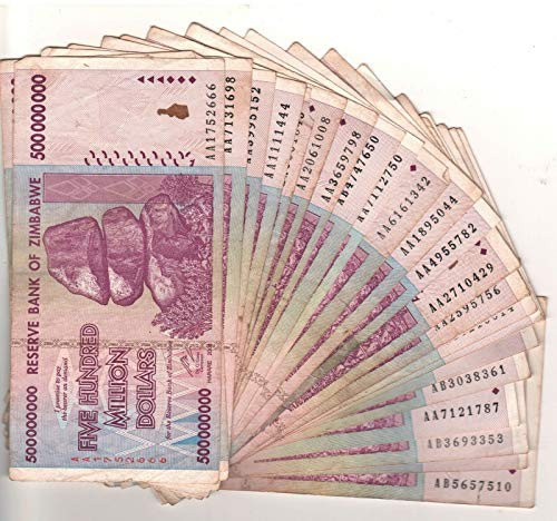 Nice1159 Rare 25 x Zimbabwe 500 Million Dollar banknotes-circulated-2008/AA or AB Currency for Collectors (Only 3 Sets Left) (Zimbabwe Currency Circulated)