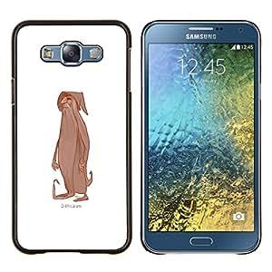 Asistente de Barba Blanca Carácter Viejo- Metal de aluminio y de plástico duro Caja del teléfono - Negro - Samsung Galaxy E7 / SM-E700