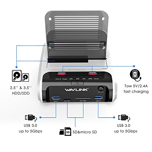 """WAVLINK USB 3.0 to SATA Dual Bay Hard Drive Docking Station with Offline Clone Function for 2.5""""/3.5"""" SATA HDD SSD, Support Fast Charger and TF & SD Card (2X 10TB) by WAVLINK (Image #1)"""