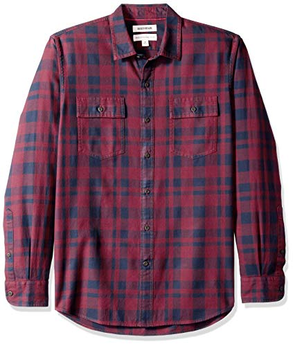 - Goodthreads Men's Standard-Fit Long-Sleeve Plaid Twill Shirt, Burgundy, X-Large