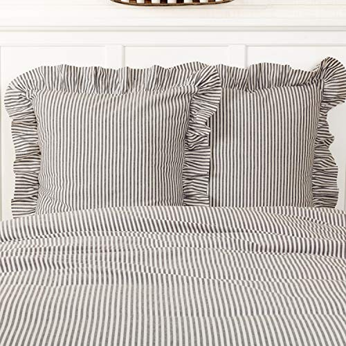 Piper Classics Farmhouse Ticking Stripe Gray Fabric Euro Sham, 26