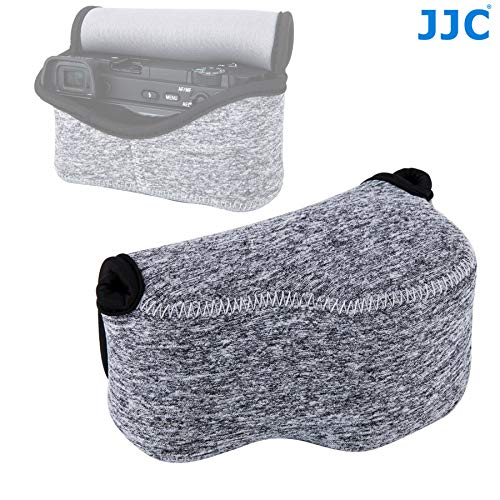 (JJC Grey Ultra Light Neoprene Camera Case for Sony a6500 a6400 a6300 a6000 a5100 w/ 16-50mm Lens, Case for Sony RX1 RX1R RX1R II, Panasonic LX100 LX100 II, Canon X420IS SX510 HS G1X III)