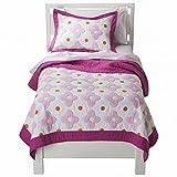 Circo Pretty Pink Flower Dot Stitched Twin Quilt & Sham Set 2 Piece