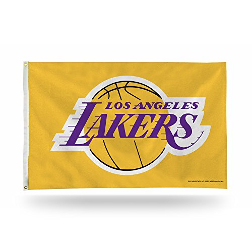 Rico Industries NBA Los Angeles Lakers 3-Foot by 5-Foot Single Sided Banner Flag with Grommets, Yellow