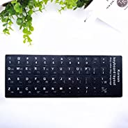 SSXY Korean Alphabet Keyboard Stickers,Transparent Letters Word Keyboard Sticker Protector Paster(White)