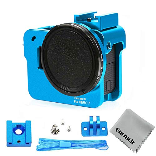 Gurmoir Aluminum Alloy Case Housing for Gopro Hero 7 Black/Hero(2018) Action Camera Wire Connectable Protective Metal Skeleton Cage with 52 mm Filter with Back Door (Blue) (Blue Camera Go Pro Lens)