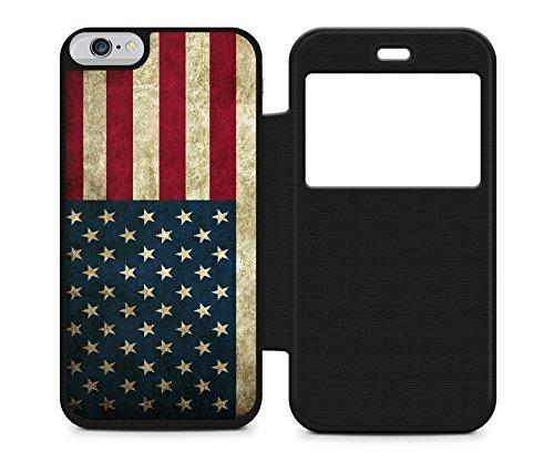 ae87bbfcd4bec USA Amerika Flagge Flag iPhone 6 SCHWARZ FLIP Klappbare Hülle SCHWARZ Etui  Tasche SCHWARZ Cover Case