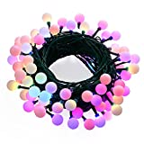 WOOTOP Christmas Lights, 90 LED 65.6ft RGB Globe String Lights, 7 Color Changing Fairy Light for Indoor & Outdoor, Home, Garden, Patio, Party, Holiday, Wedding Decorations