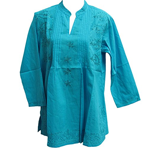 Missy Plus Indian Bohemian Paisley Embroidered Cotton Peasant Tunic Blouse Top (XL, Turquoise)