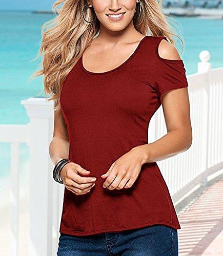 Mujer Camiseta Blusa Mangas Cortas de hombros Elegante Casual camisa de verano de encaje Rojo