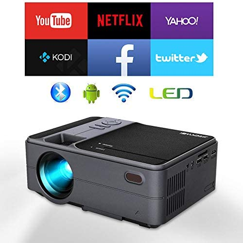 WIKISH Mini Projector with WiFi Bluetooth for Indoor Outdoor Movie TV DVD Player, Wireless Projector Airplay Zoom HDMI USB Full HD 1080P Supported