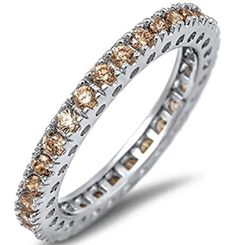(Eternity Wedding Band Champagne Cubic Zirconia .925 Sterling Silver Band 9)