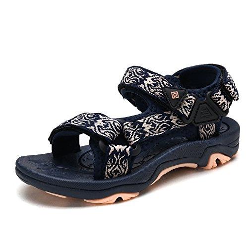 (DREAM PAIRS Little Kid 170892-K Navy Shell Pink Outdoor Summer Sandals Size 2 M US Little)
