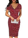 Sakaly Women's Vintage Polka Dot Contrast Wrap Slim Body-con Short Sleeve Casual V Neck Pencil Midi Dress SK300 (XXL, Red Dot)