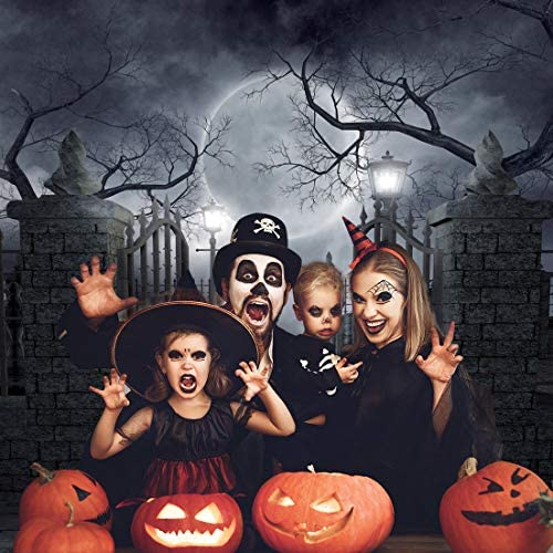 10x7ft Halloween Theme Backdrop Vinyl Spooky Green Skull Shadows ...