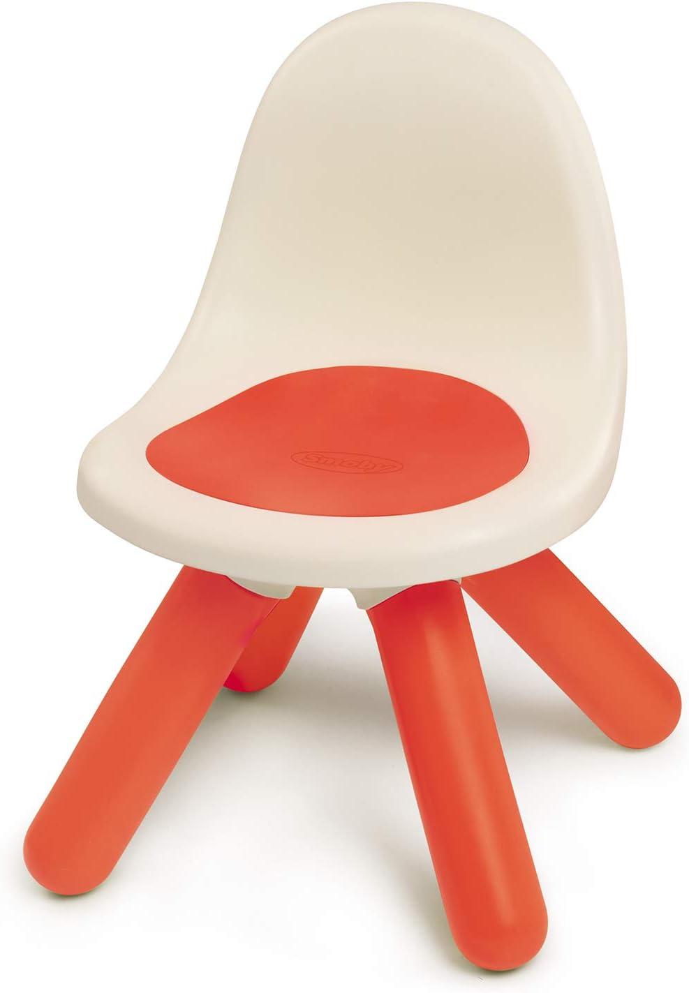 Smoby Kid - Silla infantil, plástico, con respaldo para habitación infantil o para casa de juegos Smoby, color rojo (880103)