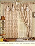 Cheap Fancy Collection Embroidered Curtain Set 4 Piece Gold Beige Drapes with Backing & Valance & Tie Backs # B-30