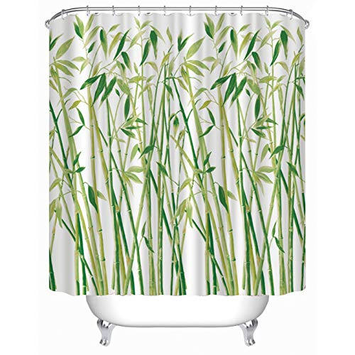 Cheerhunting Bamboo Shower Curtain, Green Bamboo Pattern Nature Inspired Asian Style, Bathroom Accessory with Hooks, 72