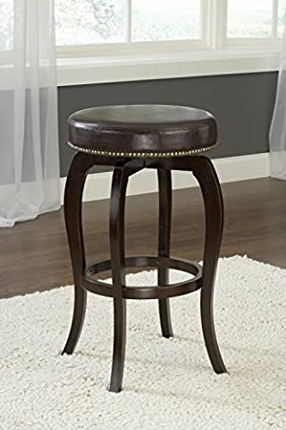 Hillsdale Furniture Wilmington Swivel Backless 25.4-Inch Counter Stool, Cappuccino Finish, Brown PU - 26 Inch Wilmington Swivel Stool