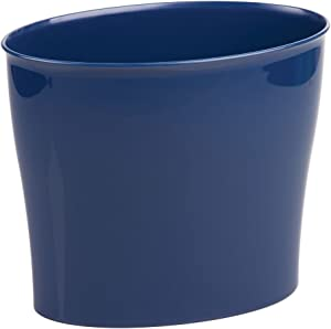 "iDesign Nuvo Plastic Waste Basket, Trash Can for Bathroom, Kitchen, Office, Bedroom, 11.5"" x 6.78"" x 10"", Navy"